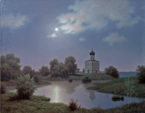 Moonlit Night on the Nerl. Painting by Viktor Tormosov