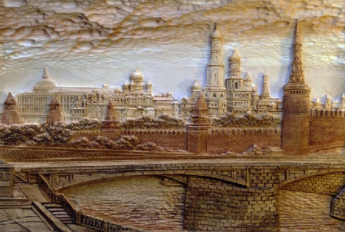 Moscow. The Duboviks workshop wood cut art