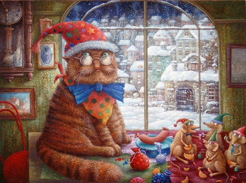 Cat and mice. Painting by Evgeny Shishkin