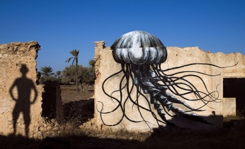 Painting on the wall of Erriadh village, Tunisia. Street artist ROA, Belgium