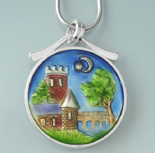 Pendant design sourced from an antique castle button. Ivy Woodrose jewelry art
