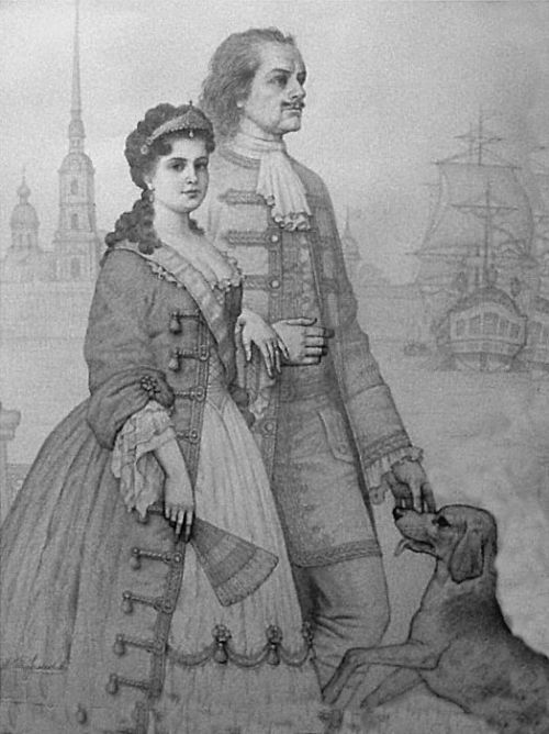 Peter the Great and his wife Catherine Alekseyevna. Painting by Viktor Tormosov
