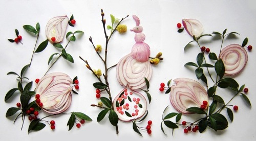 Petrikovka onion art by Ukrainian food artist Tamara Bondar