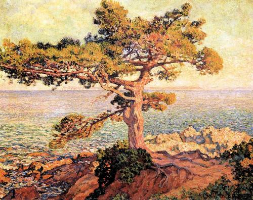 Pine by the Mediterranean Sea. Painting by Theo Van Rysselberghe
