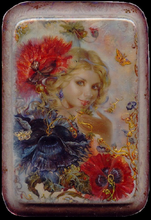 Poppies. Lacquer miniature painting 'Fedoskino' by Russian artist Yulia Danilina