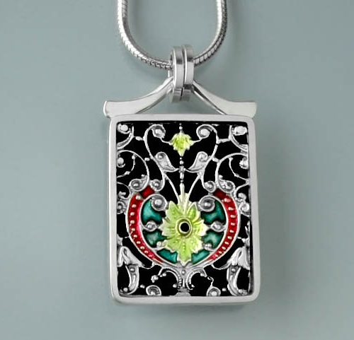 Postage stamp sized pendant 'Paris', sourced from an antique Parisian filigree buckle