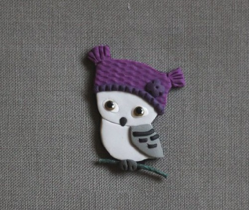 Purple Polar Owl Art brooches by Gulnara Zelinskaya