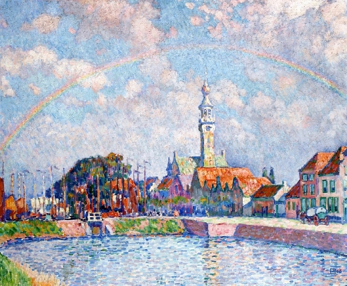 Rainbow over Veere, 1906. Painting by Theo Van Rysselberghe