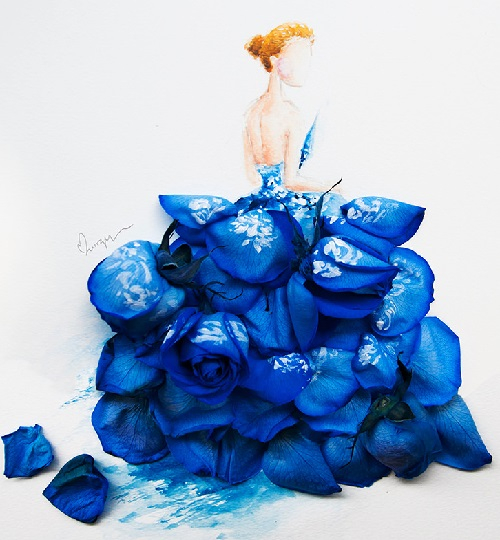 Sapphire. Blue dyed rose and watercolor on paper. 2014. Watercolor and flower petals art by Singaporean artist Lim Zhi Wei
