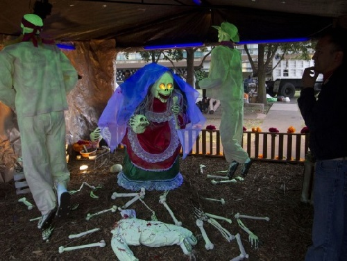Scary installation on Day of the Dead in Mexico