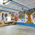 School walls painted with mud