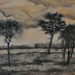 Sepia landscape. Painting by Moscow based Elina Forget-me-not