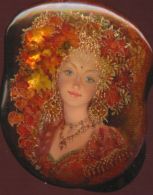 September. Lacquer miniature painting 'Fedoskino' by Russian artist Yulia Danilina