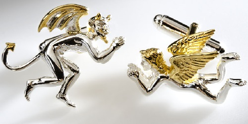 Awareness. Cufflinks. 925 Sterlingsilver & 24 k Gold Plated. Handmade Surreal jewelry art by Sergio Bustamante