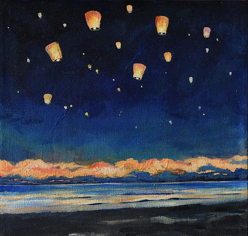 Sky Lanterns. Painting by Moscow based Elina Forget-me-not