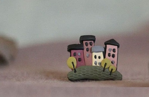 Small town. Brooch