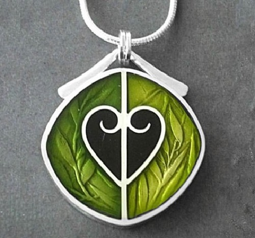 Sterling silver and precious metal clay pendant