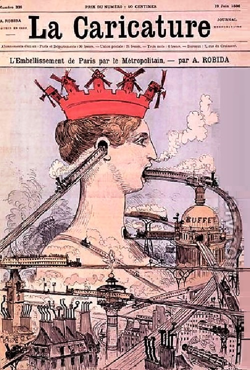 The Improvement to Paris by the Metropolitan, La Caricature of June 19, 1886. Artist predictor Albert Robida