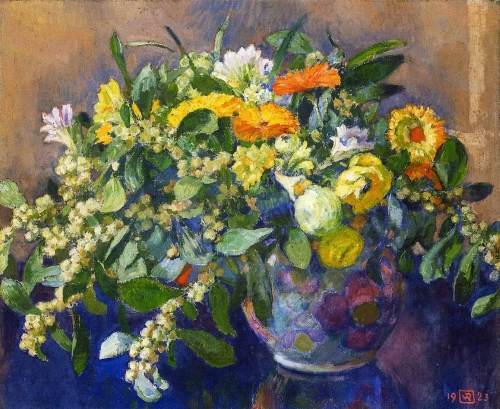 Vase of Flowers. Painting by Theo Van Rysselberghe