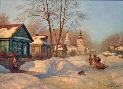 Village 'Krasnoye'. Painting by Viktor Tormosov