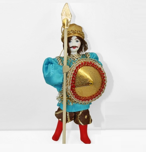 Warrior. Christmas handmade decoration with the elements of the porcelain