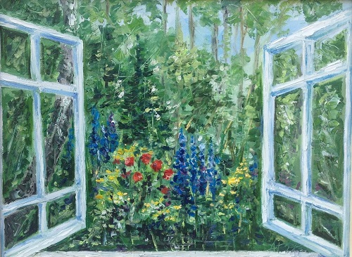 Window to the garden. Oil on canvas on cardboard