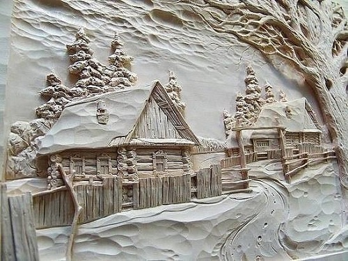 Winter in the village. The Duboviks workshop wood cut