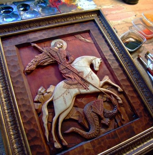 Wood-carved painting by Viktor Dubovik