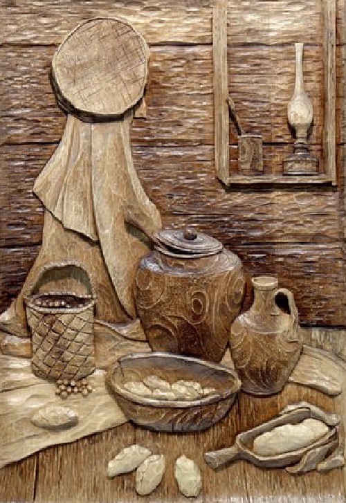 Family workshop of woodcarving art