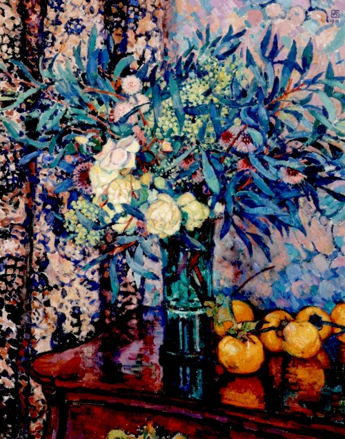 Yellow Roses, Persimmons and Mimosas. Painting by Theo Van Rysselberghe