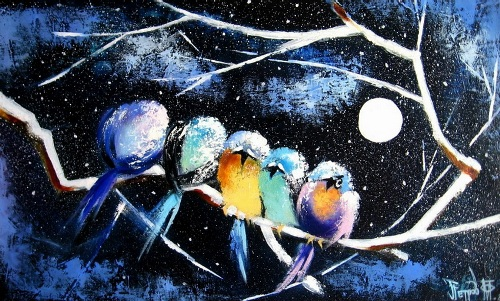 Birds under the moon
