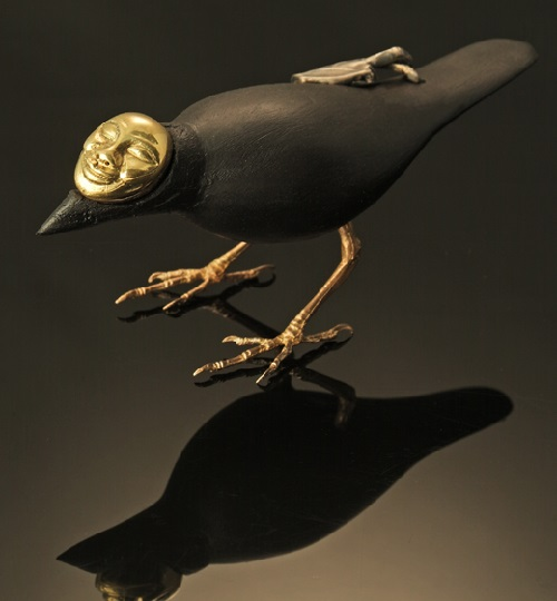 Black bird. Sculptor jeweler Jasmine Thomas-Girvan