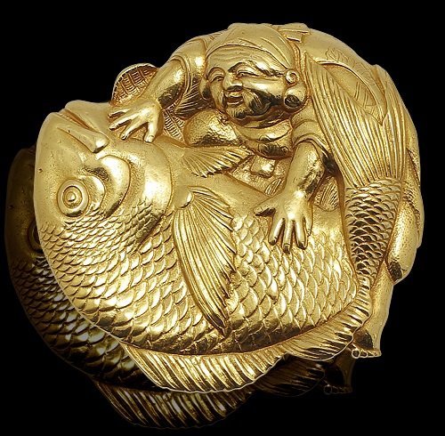 Russian artist-jeweler Timofei Zhuravlev. Brooch 'Ebisu with Tai fish'