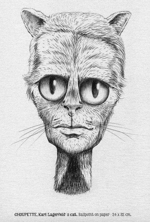 Choupette. Karl Lagerfeld's cat. Ballpoint on paper. Drawing by BL67
