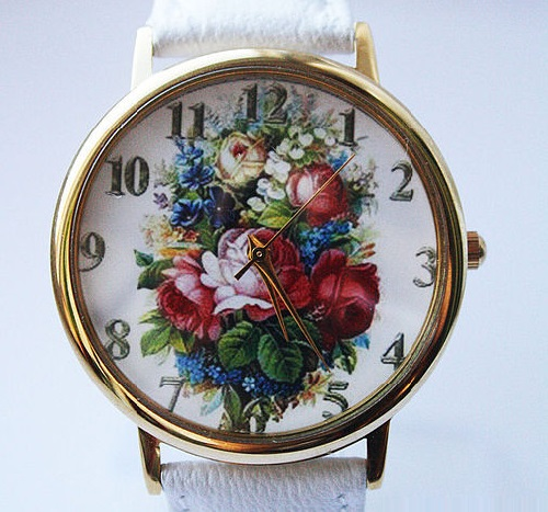 Still life with flowers. Designer's watches handmade by JK