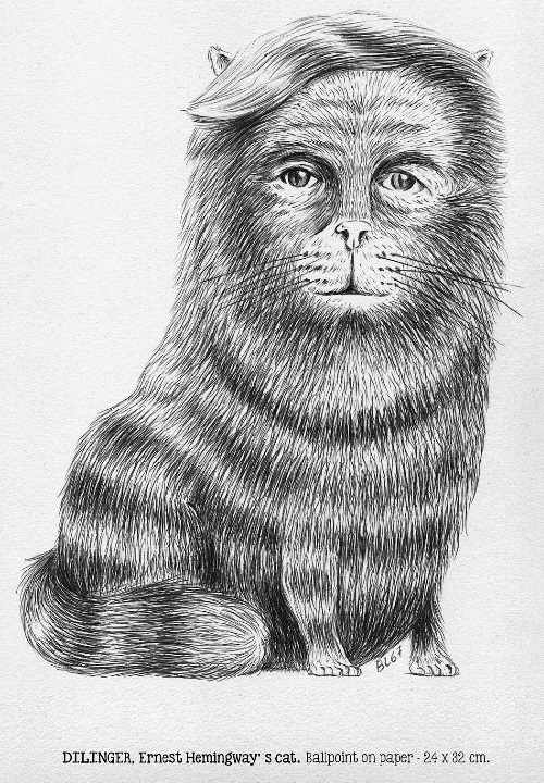 Dilinger. Ernest Hemingway's cat. Ballpoint on paper. Drawing by BL67