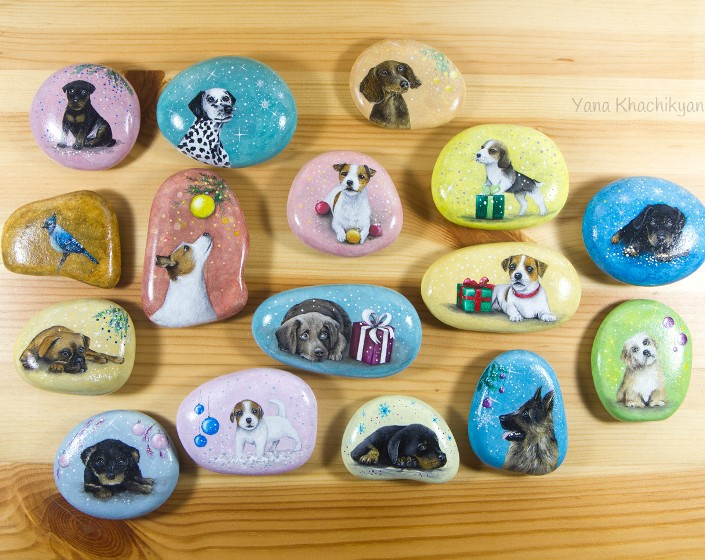 Dogs' portraits, miniature painting on stone