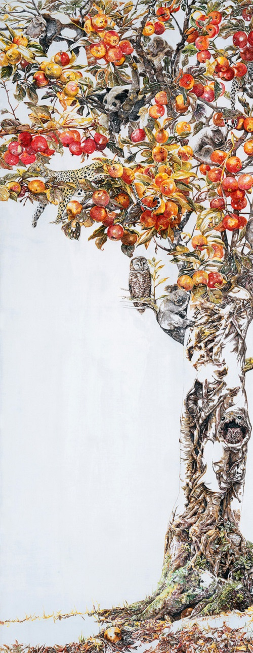 Drunk in autumn. Painting by Chinese artist Zhao Na. (detail)
