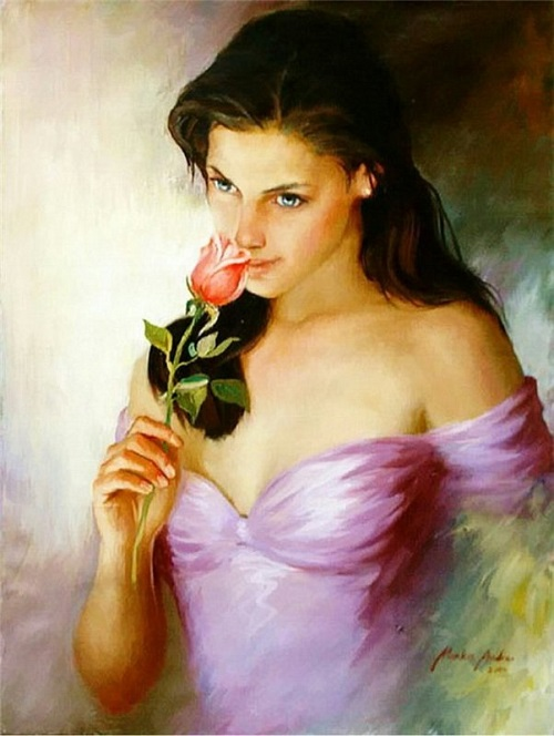 Female portrait. Painting by Russian artist Andrei Markin