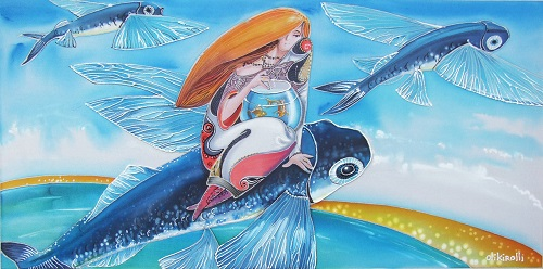 Flying to the south. Batik artist Olga Petrenko