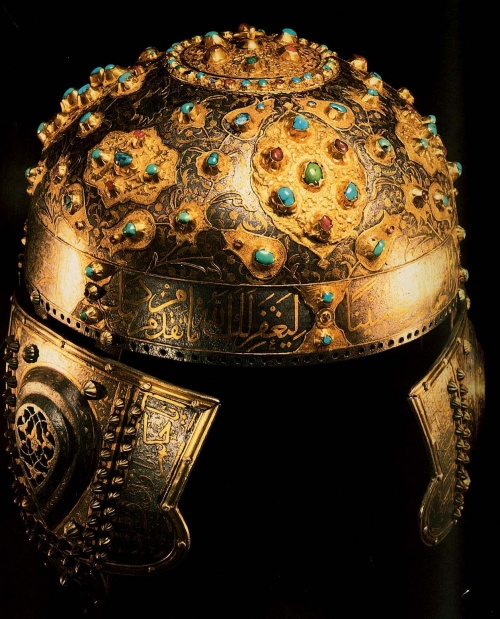 Helmet mid 16th century iron turquoise rubies gold for Alex paint porcelain jewelry