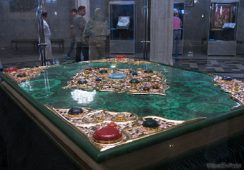 Holy Book Koran al-Karim bound in green marble, decorated with sapphires and garnets. Kazan (Russia). The Largest Printed Koran in the world