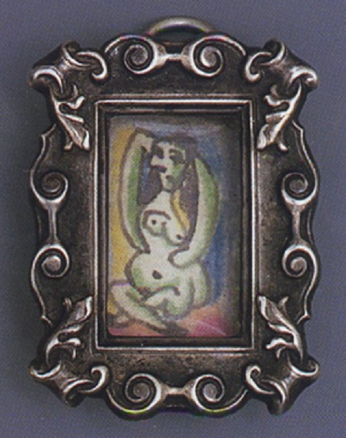 Ink and color pencil drawing by Picasso set in frame-shaped pendant for Dora Maar, c. 1936-1939. Artist jeweler Pablo Picasso