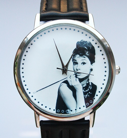 Breakfast at Tiffany's. Unusual, bright designer's watches handmade by JK. Mechanism Japanese Quartz. Material steel case, mineral glass, strap - Leather