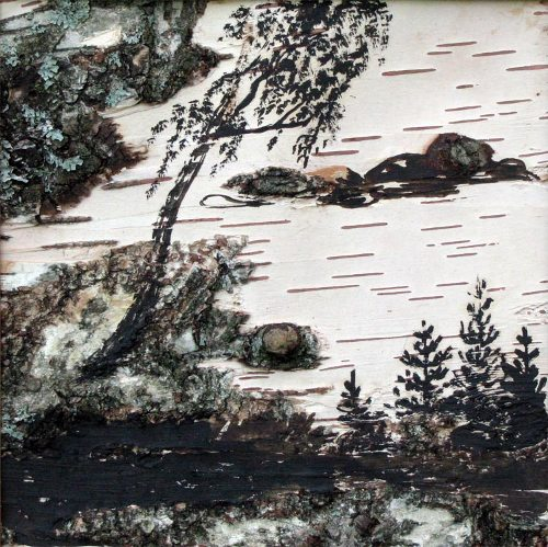 Landscape painting on birch bark by Karelian artist Kristina Petrova