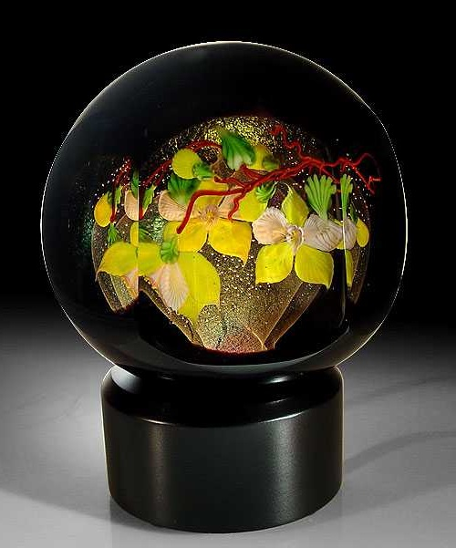 Mayauel Ward 2008 'Yellow Orchids' faceted black overlay compound sculpture paperweight