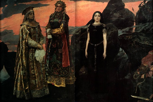 Fairy tale happiness by Vasnetsov. Three princesses of the Underworld, 1884