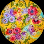 Decorative floral painting on glass by Danish artist Ulla Darni