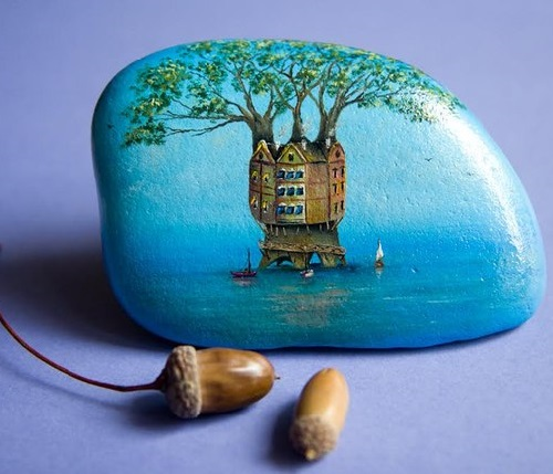 House-tree. Painting on stone by Yana Khachikian