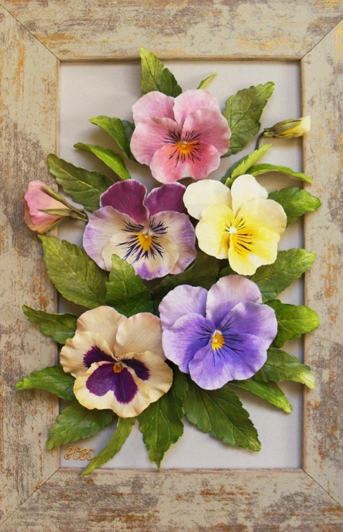 Pansies. Porcelain flowers by Julia Korshunova